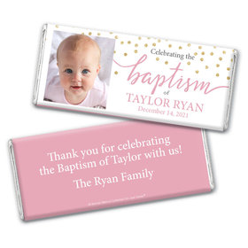 Personalized Bonnie Marcus Confetti Baptism Chocolate Bar & Wrapper with Gold Foil