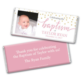 Personalized Bonnie Marcus Confetti Baptism Chocolate Bar Wrappers Only
