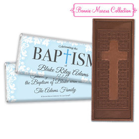 Personalized Bonnie Marcus Floral Filigree Baptism Embossed Chocolate Bar