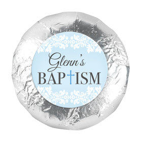 """Personalized Bonnie Marcus Floral Filigree Baptism 1.25"""" Stickers (48 Stickers)"""