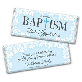 Personalized Bonnie Marcus Floral Filigree Baptism Chocolate Bar & Wrapper with Gold Foil