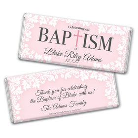 Personalized Bonnie Marcus Floral Filigree Baptism Chocolate Bar & Wrapper