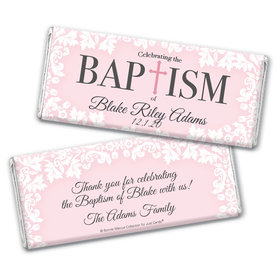Personalized Bonnie Marcus Floral Filigree Baptism Chocolate Bar Wrappers Only