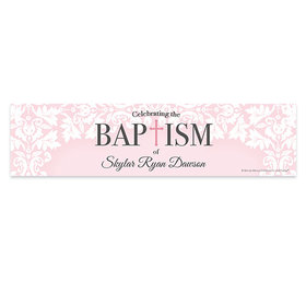 Personalized Bonnie Marcus Baptism Floral Filigree 5 Ft. Banner