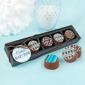 Personalized Bonnie Marcus Boy Baptism Floral Filigree Gourmet Chocolate Truffle Gift Box (5 Truffles)