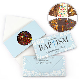 Personalized Bonnie Marcus Floral Filigree Baptism Gourmet Infused Belgian Chocolate Bars (3.5oz)