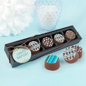 Personalized Bonnie Marcus Boy Baptism Scroll Gourmet Chocolate Truffle Gift Box (5 Truffles)