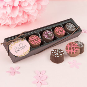 Personalized Bonnie Marcus Girl Baptism Scroll Gourmet Chocolate Truffle Gift Box (5 Truffles)