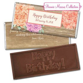 Bonnie Marcus Collection Personalized Embossed Chocolate Bar Chocolate and Wrapper Blooming Joy Birthday Party Favor