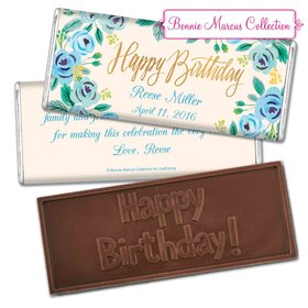 Bonnie Marcus Collection Personalized Embossed Chocolate Bar Chocolate & Wrapper Here's Something Blue Birthday Favors