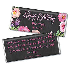 Bonnie Marcus Collection Personalized Chocolate Bar Chocolate & Wrapper Floral Embrace Birthday Favors