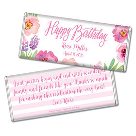Floral Embrace Birthday Favors Personalized Hershey's Bar Assembled