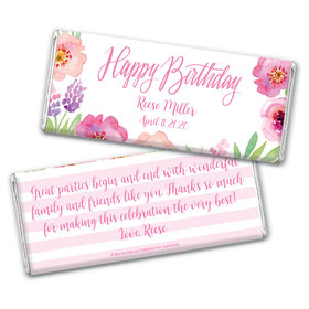 Floral Embrace Birthday Favors Personalized Candy Bar - Wrapper Only