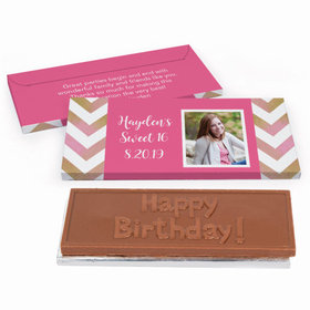 Deluxe Personalized Picture Your Birthday Sweet 16 Chocolate Bar in Gift Box