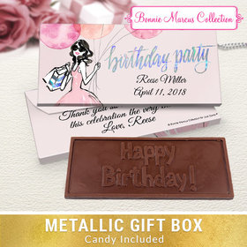 Deluxe Personalized Blithe Spirit Birthday Embossed Chocolate Bar in Metallic Gift Box