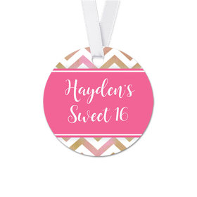 Personalized Shimmering Stripes Birthday Round Favor Gift Tags (20 Pack)