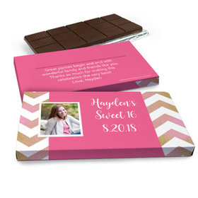 Deluxe Personalized Birthday Chevron Belgian Chocolate Bar in Gift Box (3oz Bar)