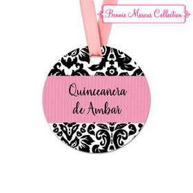 Personalized Pattern Quinceañera Round Favor Gift Tags (20 Pack)