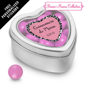 Bonnie Marcus Collection Personalized Small Heart Tin Quinceaera (25 Pack)
