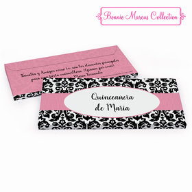 Deluxe Personalized Bonnie Marcus Black & White Pattern Quinceaera Chocolate Bar in Gift Box