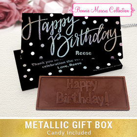 Deluxe Personalized Polka Dots Birthday Chocolate Bar in Metallic Gift Box