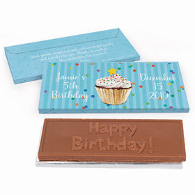 Deluxe Personalized Cupcake Dazzle Birthday Embossed Chocolate Bar in Gift Box