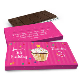 Deluxe Personalized Cupcake Dazzle Chocolate Bar in Gift Box (3oz Bar)