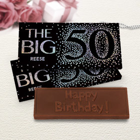 Deluxe Personalized Big 5-0 Birthday Chocolate Bar in Metallic Gift Box