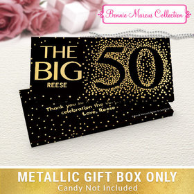 Deluxe Personalized Big 5-0 Birthday Candy Bar Favor Box
