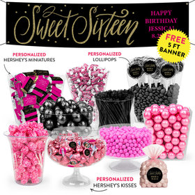 Personalized Sweet 16 Birthday Script Deluxe Candy Buffet