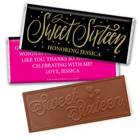 Personalized Bonnie Marcus Gold Dots Sweet 16 Embossed Chocolate Bar