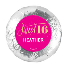 "Personalized Bonnie Marcus Pink & Gold Sweet 16 1.25"" Stickers (48 Stickers)"