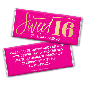 Personalized Bonnie Marcus Pink & Gold Sweet 16 Chocolate Bar Wrappers Only