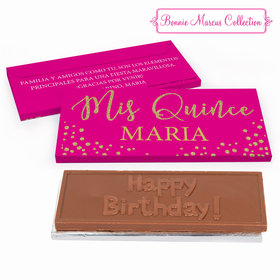 Deluxe Personalized Bonnie Marcus Gold Sparkle Quinceaera Embossed Chocolate Bar in Gift Box
