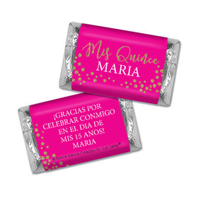 Personalized Bonnie Marcus Gold Sparkle Quinceanera Hershey's Miniatures