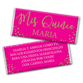 Personalized Bonnie Marcus Gold Sparkle Quinceanera Chocolate Bar & Wrapper