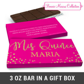 Deluxe Personalized Bonnie Marcus Quinceañera Gold Sparkle Chocolate Bar in Gift Box (3oz Bar)