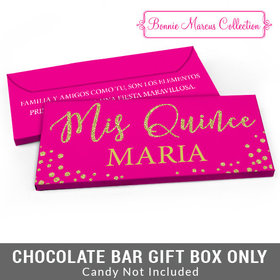 Deluxe Personalized Bonnie Marcus Quinceañera Gold Sparkle Candy Bar Cover