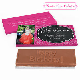 Deluxe Personalized Bonnie Marcus Pink Sparkle Quinceaera Embossed Chocolate Bar in Gift Box
