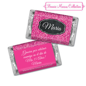 Personalized Bonnie Marcus Pink Sparkle Quinceanera Hershey's Miniatures