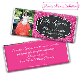 Personalized Bonnie Marcus Pink Sparkle Quinceanera Chocolate Bar & Wrapper