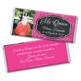 Personalized Bonnie Marcus Pink Sparkle Quinceanera Chocolate Bar Wrappers Only