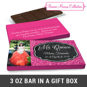 Deluxe Personalized Bonnie Marcus Quinceañera Pink Sparkle Chocolate Bar in Gift Box (3oz Bar)