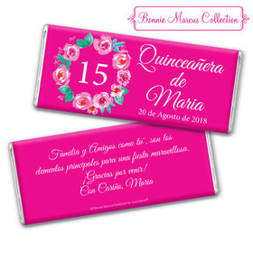 Personalized Bonnie Marcus Wreath Quinceanera Chocolate Bar & Wrapper