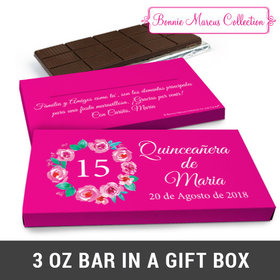 Deluxe Personalized Bonnie Marcus Quinceañera Wreath Chocolate Bar in Gift Box (3oz Bar)