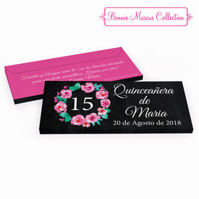 Deluxe Personalized Bonnie Marcus Quinceaera Wreath Quinceaera Chocolate Bar in Gift Box