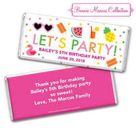 Personalized Bonnie Marcus Tropical Birthday Chocolate Bar & Wrapper with Gold Foil
