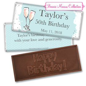 Personalized Bonnie Marcus Embossed Chocolate Bar & Wrapper - Birthday Bubbly Party Blue