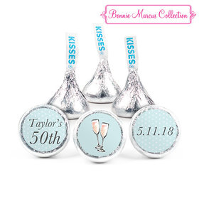 Personalized Hershey's Kisses - Bonnie Marcus Birthday Bubbly Party Blue (50 Pack)