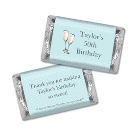 Personalized Mini Wrappers Only - Bonnie Marcus Birthday Blue Birthday Party Bubbly